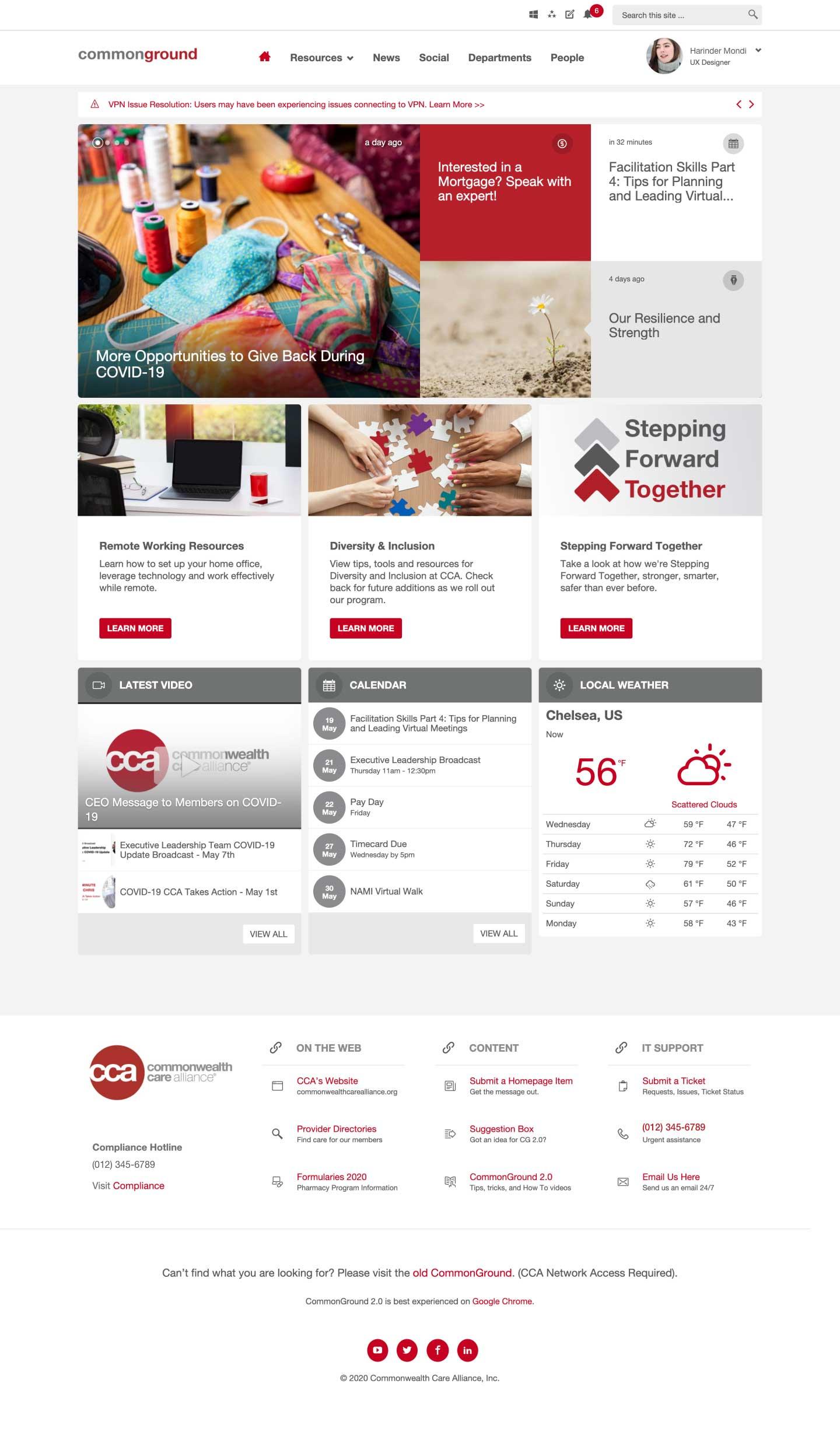 Página de inicio de CCA Intranet