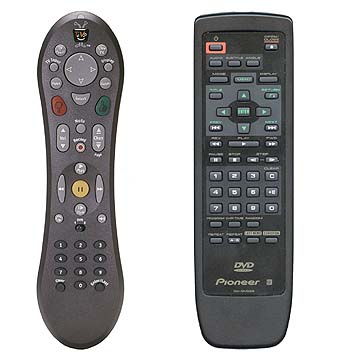 Photo of remote controls from TiVo and Pioneer