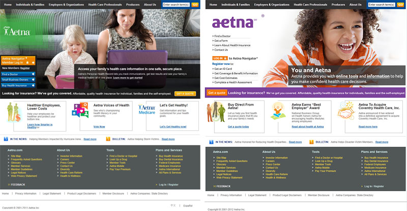 Screenshots From 2011 (left) And 2012 (right) Of The Homepage For The