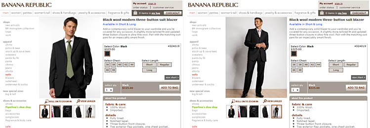 Two screenshots of the same product page for a suit jacket on Banana Republic, showing different views of the jacket - the last one depicts a full suit