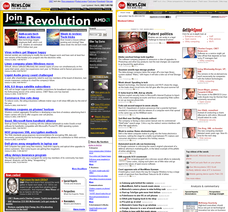 Screenshots from 2002 (left) and 2003 (right) of the homepage for the News.com service from CNet.