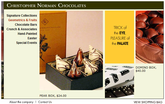 Screenshot of a category page (or rather, the splash screen before the detailed category page) on Christopher Norman Chocolates.