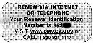 从发给加州车主的续约信中摘录。文字说明:通过互联网或电话更新。您的续订识别号是96116。访问www.dmv.ca.gov或致电1-800-921-1117。