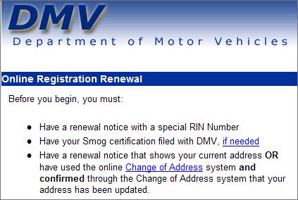 摘自DMV网站的续约部分。第一颗子弹说你必须有一张有特殊RIN号码的续约通知。