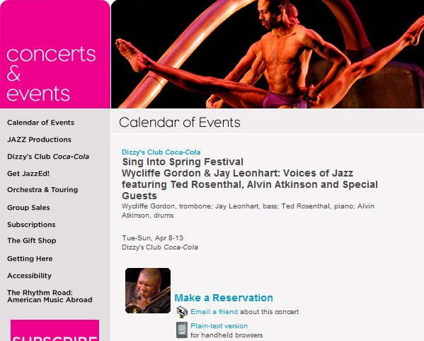 Screenshot of the product page for a performance at Jazz at Lincoln Center