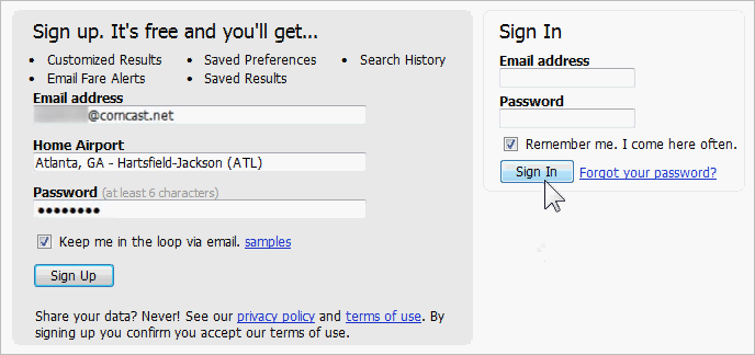Part of a web page with fields for both logging in and for registering new users.