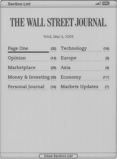 Screenshot of Wall Street Journal table of contents, displayed on the Kindle 2