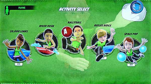 Screenshot from Kinect Sports, where back is an option in the upper right