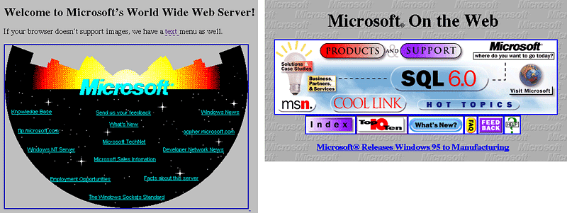 Screenshots from 1994 (left) and 1995 (right) of the homepage for Microsoft.