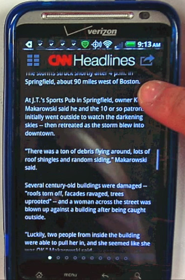 Screenshot from CNN mobile app; article about tornado damage