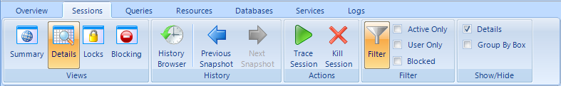 Microsoft Office 2007-style ribbon bar (combined menu and toolbar) from the SQL Diagnostic Manager application user interface.