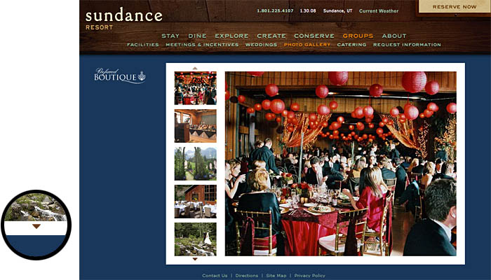 Screenshot from the group events area of the Sundance Resort's website,showing a set of photos of events at the resort.