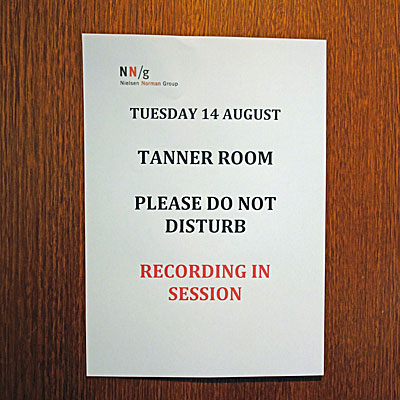 Photo Of Sign Posted On The Door To Temporary Usability Lab Used For Nielsen Norman