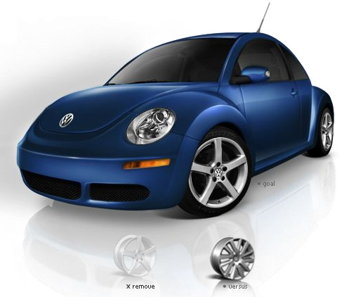 Partial screenshot of the build-your-own-car area on VW's website,showing the step in the process where the user is selecting the wheels.