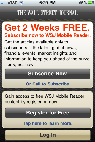 Screenshot of first screen shown when launching Wall St. Journal iPhone app for the first time.