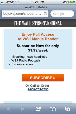 Screenshot of the screen you get by selecting 'Subscribe Now' from the WSJ app's startup screen