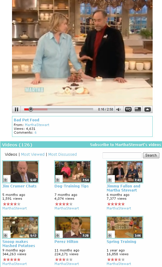 YouTube Screenshot, Martha Stewart channel