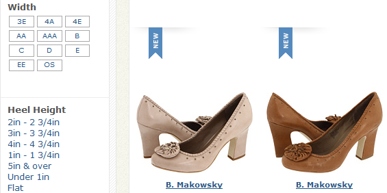 Excerpt of screenshot from Zappos.com: a shoe-selling etailer.